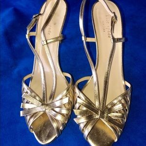 Kate Spade classy gold heels*Italian*with bow